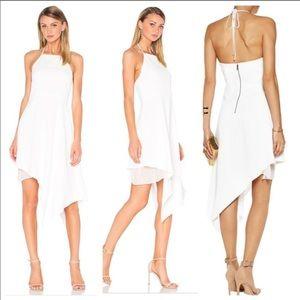 Alice & Olivia Asymmetrical Halter Dress in White